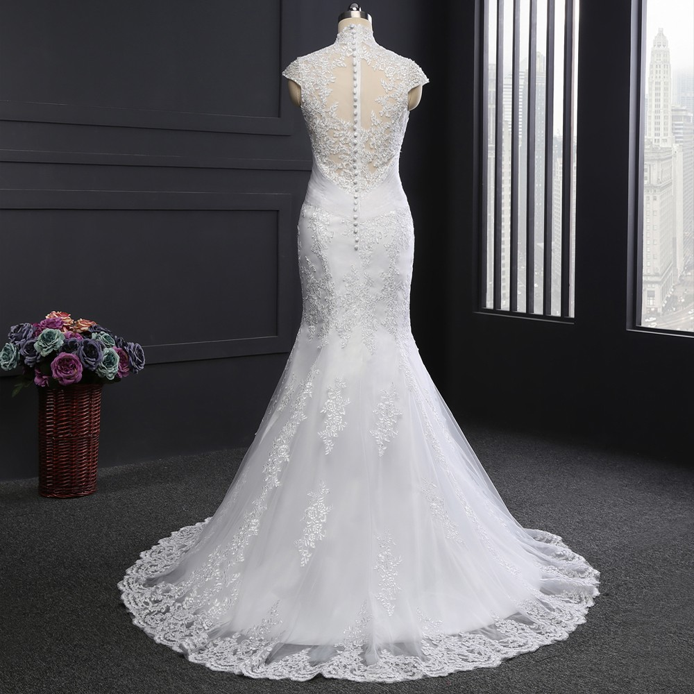 Vestido De Noiva 2018 Designer Wedding Dresses Mermaid Cap Sleeves ...
