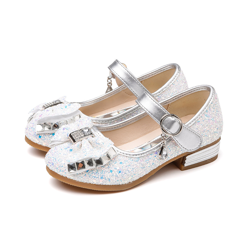 Girls heels child shoes fashion sequin bow party girls princess shoes blue pink gold silver non slip soft bottom kids shoes in Sneakers from Mother Kids