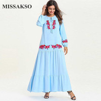 Missakso Beautiful Light Blue Dresses Women Casual O Neck Spring Autumn Maxi A Line Solid Dresses With Embroidery Long Sleeve