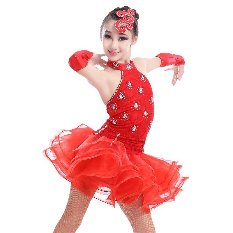 Girls Elegant Open Back Sexy Samba Tango Performance Dress Child Kid Latin Rhinestone Competition Dance Dress