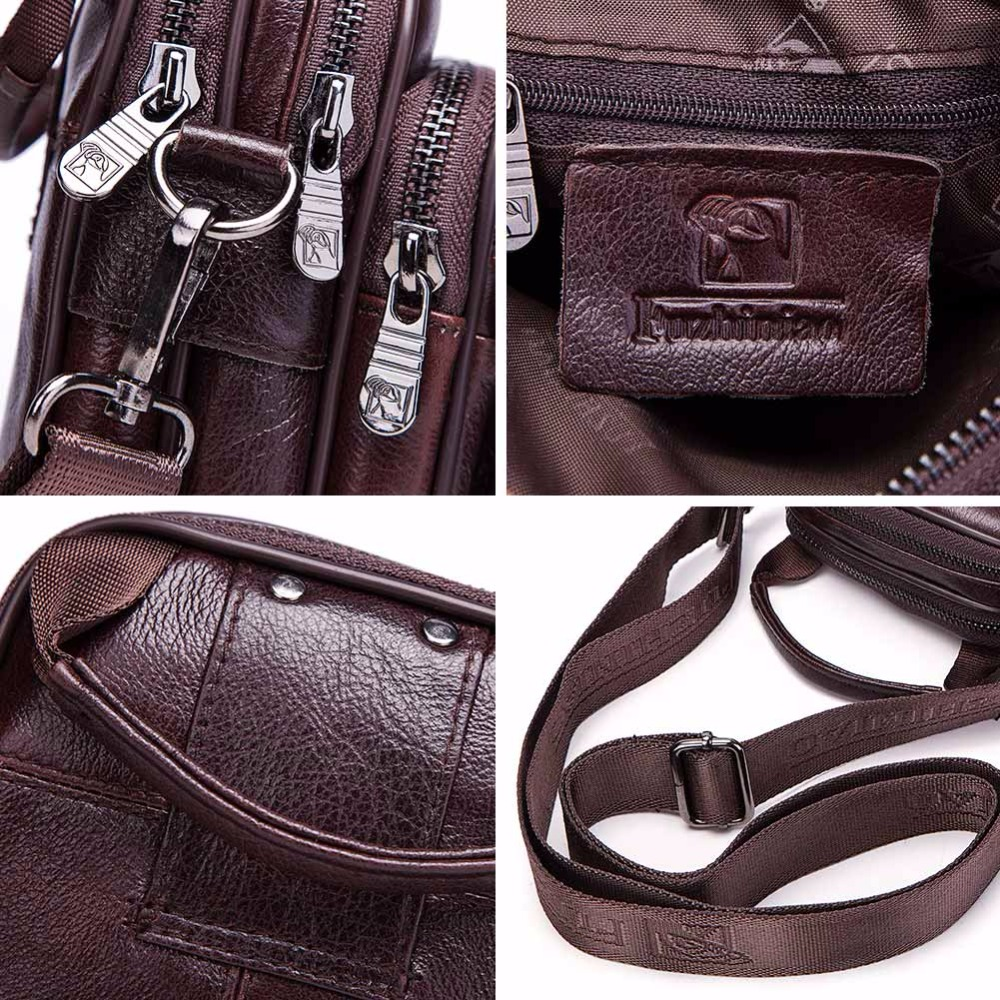 Image 4 - FUZHINIAO Small Genuine Cowhide Leather Men's Shoulder Bag Clutch Handbag Messenger Male Bags Crossbody Sling Tote Small Zipper