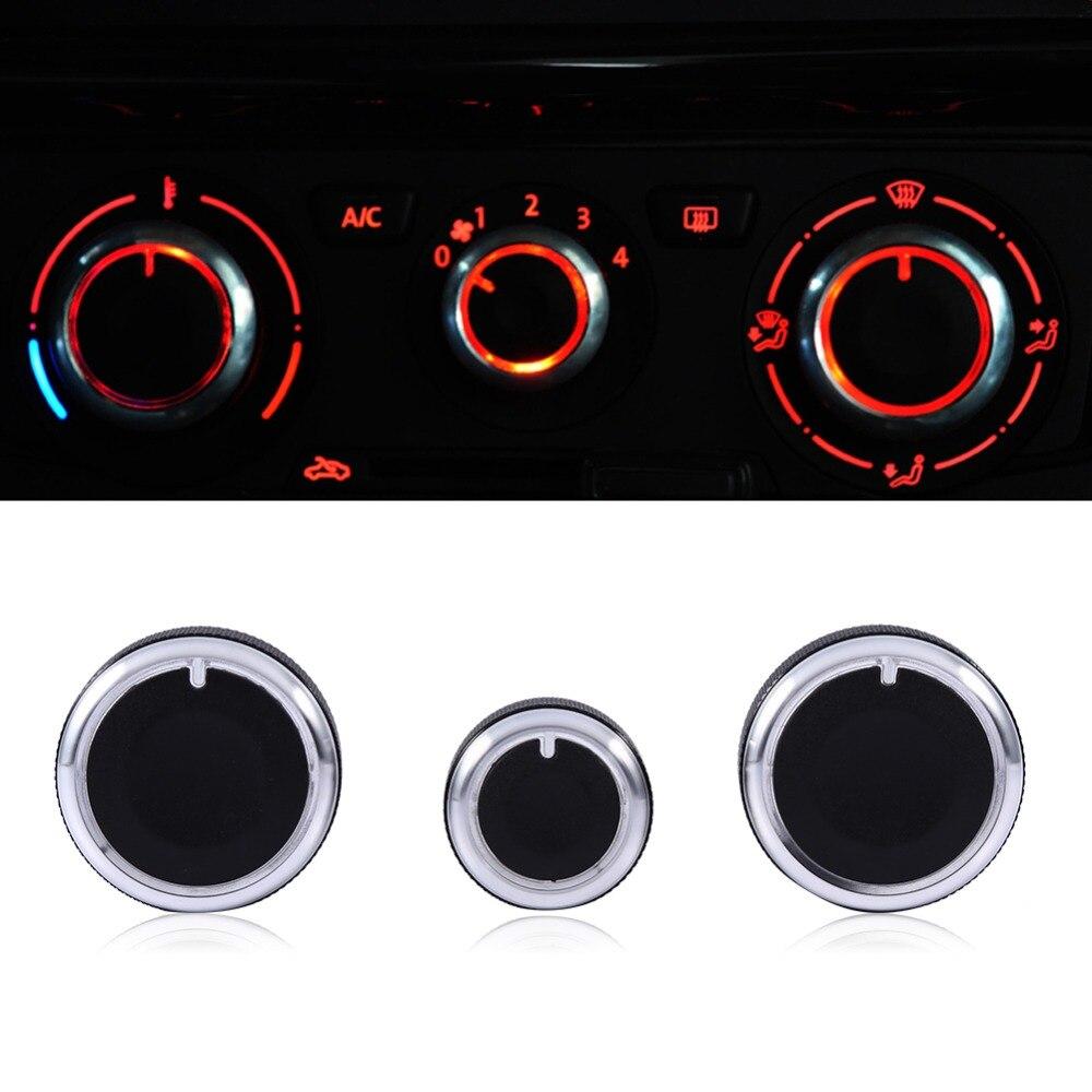 A/C Switch Buttons Control Cover 3PCS/Set Heater Dash A/C Switch Knobs Black Control Buttons For VW Golf MK4 Passat B5 Bora