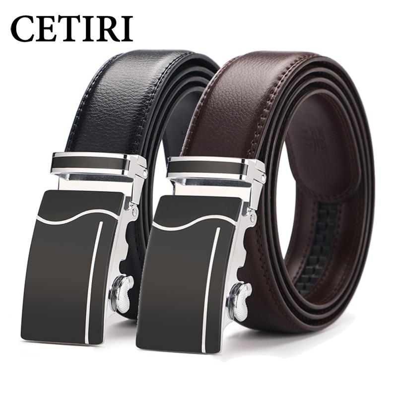 CETIRI Pánský opasek Luxusní slavná značka automatické přezky hovězí kůže pravý kožený ráčnový opasek vysoce kvalitní hnědé 130cm pásy pro muže
