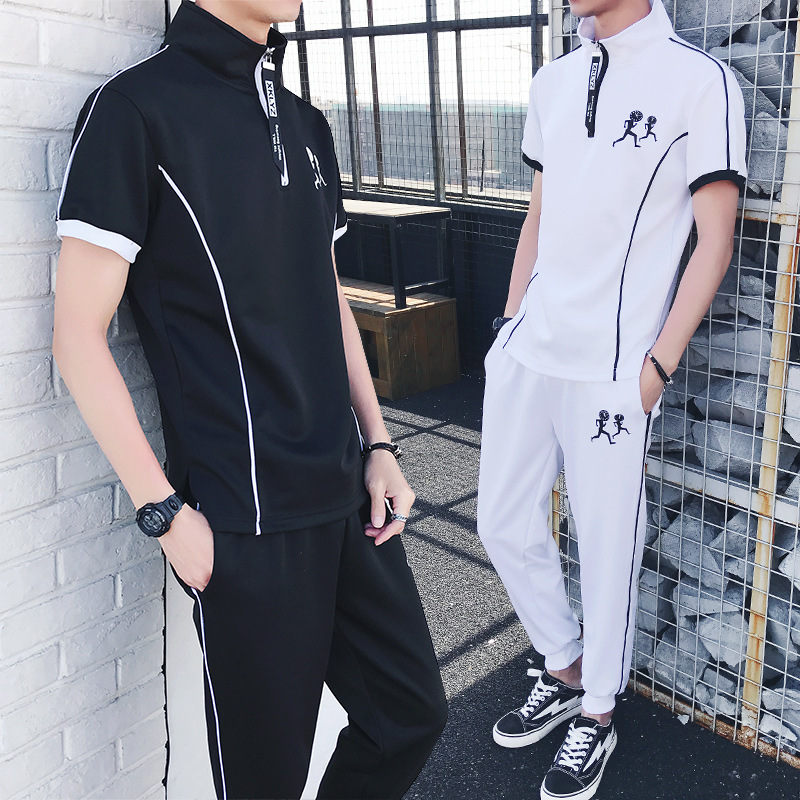 2018 Spring Summer Men Set Sporting Tracksuit Zipper Tracksuit Short Sleeve Sweatshirt+Pant 2 Piece Set