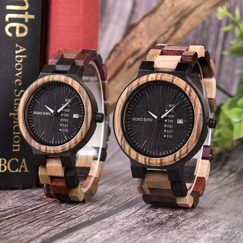 BOBO BIRD Unisex Wooden Colorful Week Date Display Quartz Watches 3