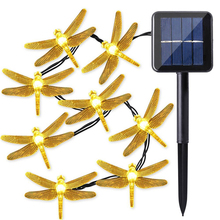 Newest 30 leds 6M Dragonfly Solar Light Power LED String Fairy Lights Garden Lawn Lamp Garland Christmas Decor For Outdoor