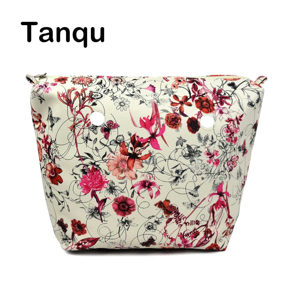 TANQU Flower PU Leather Inner Zipper Pocket Lining Waterproof Insert for Big Classic Mini Obag EVA O BAG Women Handbag 12mm waterproof soprano concert ukulele bag case backpack 23 24 26 inch ukelele beige mini guitar accessories gig pu leather