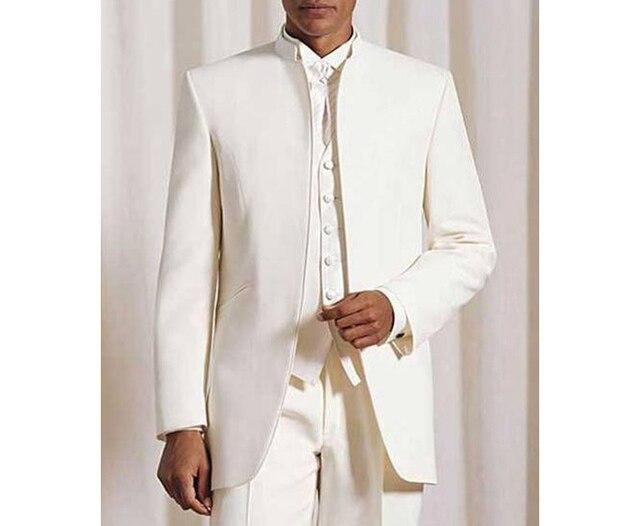 العاج الرجال الكلاسيكية أزياء التلبيب الماندرين الدعاوى الاستمالة سهرة الرجال خياط صنع سترة الذكور بدلة عمل زي أوم-في بدلة من ملابس الرجال على  مجموعة 1