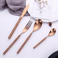 24piece Stainless Steel Gold Cutlery Set Tableware Knife Fork S poon Set Dinnerware Korean Food Bamboo Creactive Golden Cutlery