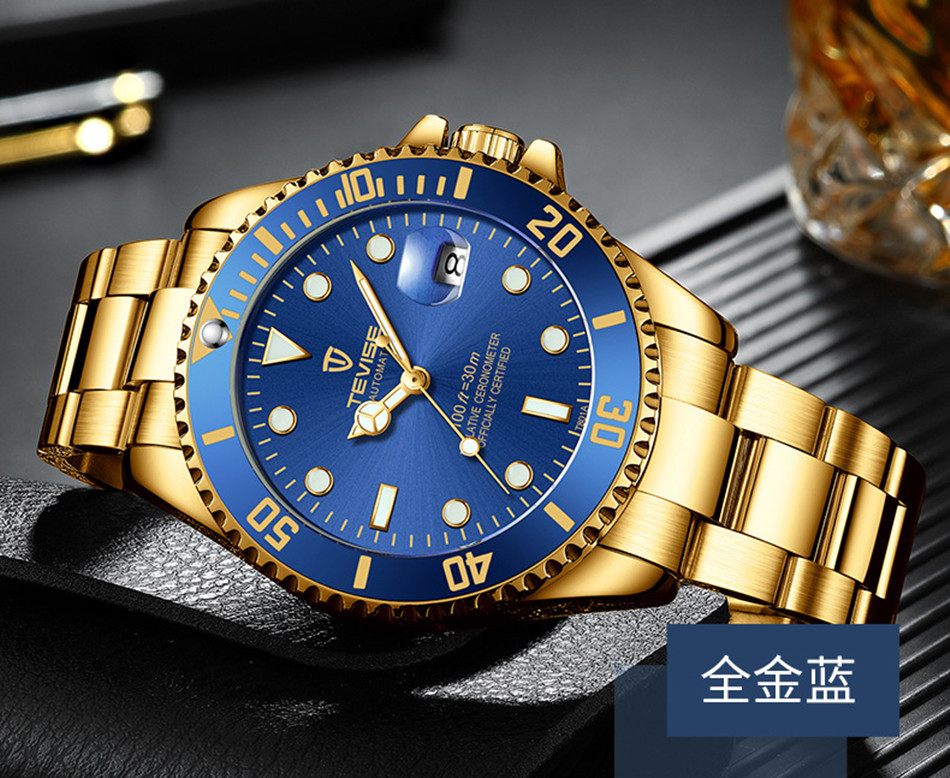 Tevise Luxury Waterproof Automatic Men Mechanical Watch Auto Date Full Steel Business Top Brand Man Watches Water Resistant T801