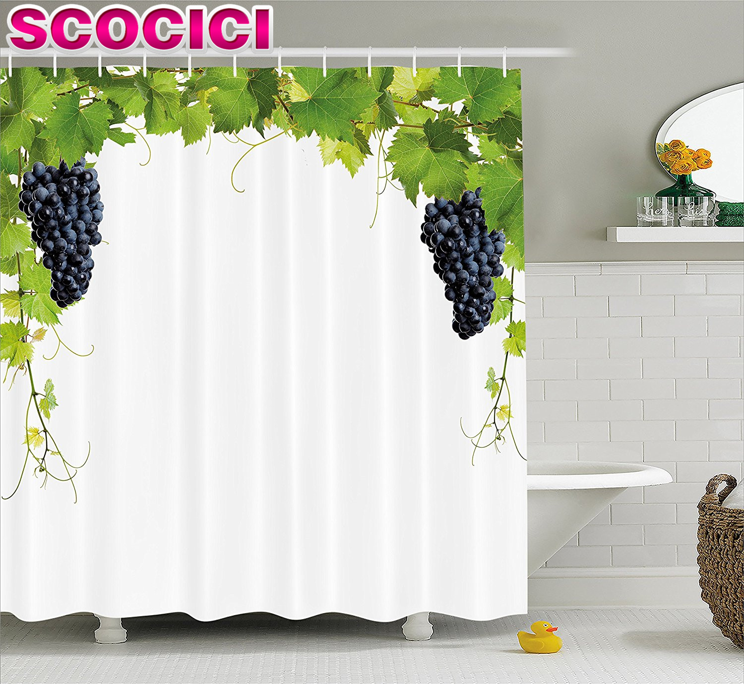 Wine Decor Shower Curtain Set Bottle And Bunch Of Gs On Wooden Table Background Romantic Italian Dinner Theme Bathroom Green Brown