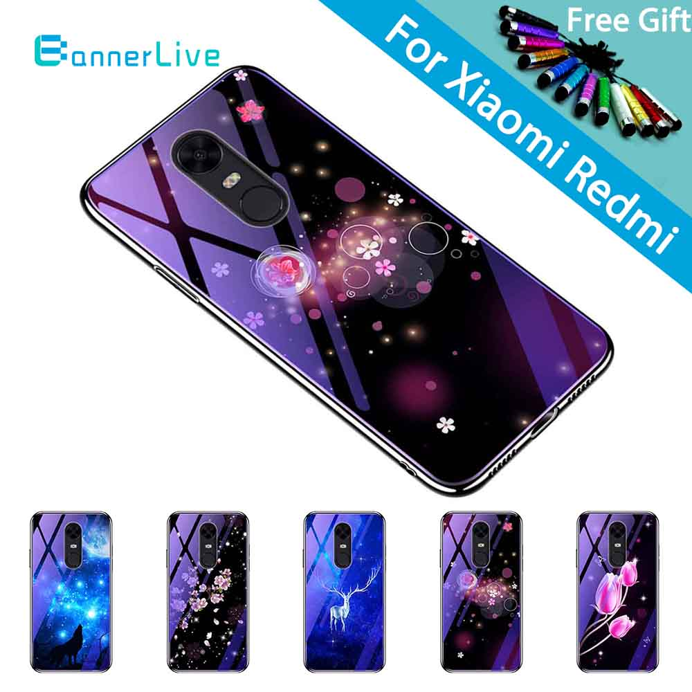 BannerLive Phone Case for Xiaomi Mi Redmi 5 5A 6 6A 6Pro S2 Y2 Note 3 4 4X Soft TPU Silicon Funda Glass Back Cover Paint Flower