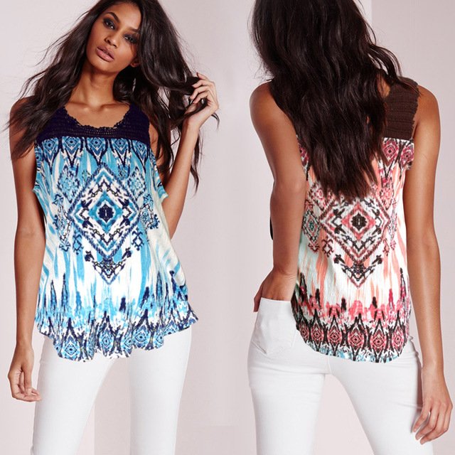 Women Newest Summer Tops Lady/Girl Fashion Crocheting and Geometric Printing Tees Loose Plus Size Cotton Vest Tops