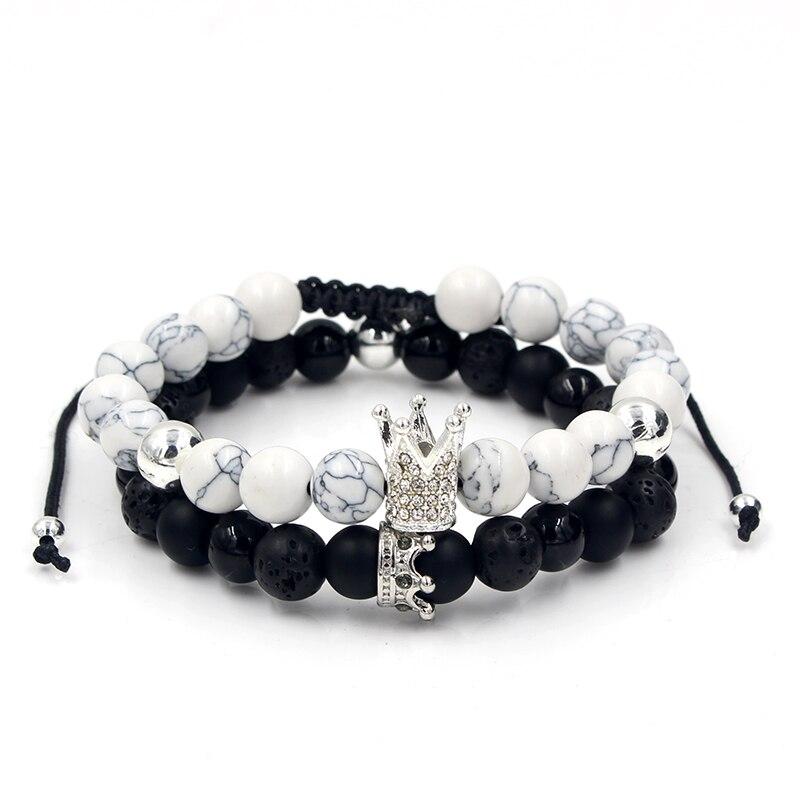 CZ Crown Charms Stone Beads Men Couple Bracelets Jewelry For Women 2Pcs/Set Bangles Sets Masculina Bileklik Pulseira Feminina