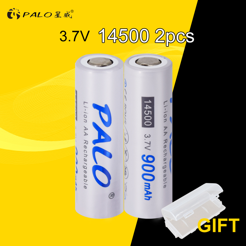 PALO 2pcs 14500 900mAh 3.7V Li-ion Rechargeable Batteries AA Battery Lithium Cell for Led Flashlight Headlamps Torch Mouse стоимость