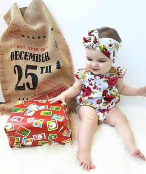 2018 Cute Floral Romper 2pcs Baby Girls Clothes Jumpsuit Romper+Headband 0-24M Age Ifant Toddler Newborn Outfits Set Hot Sale 1