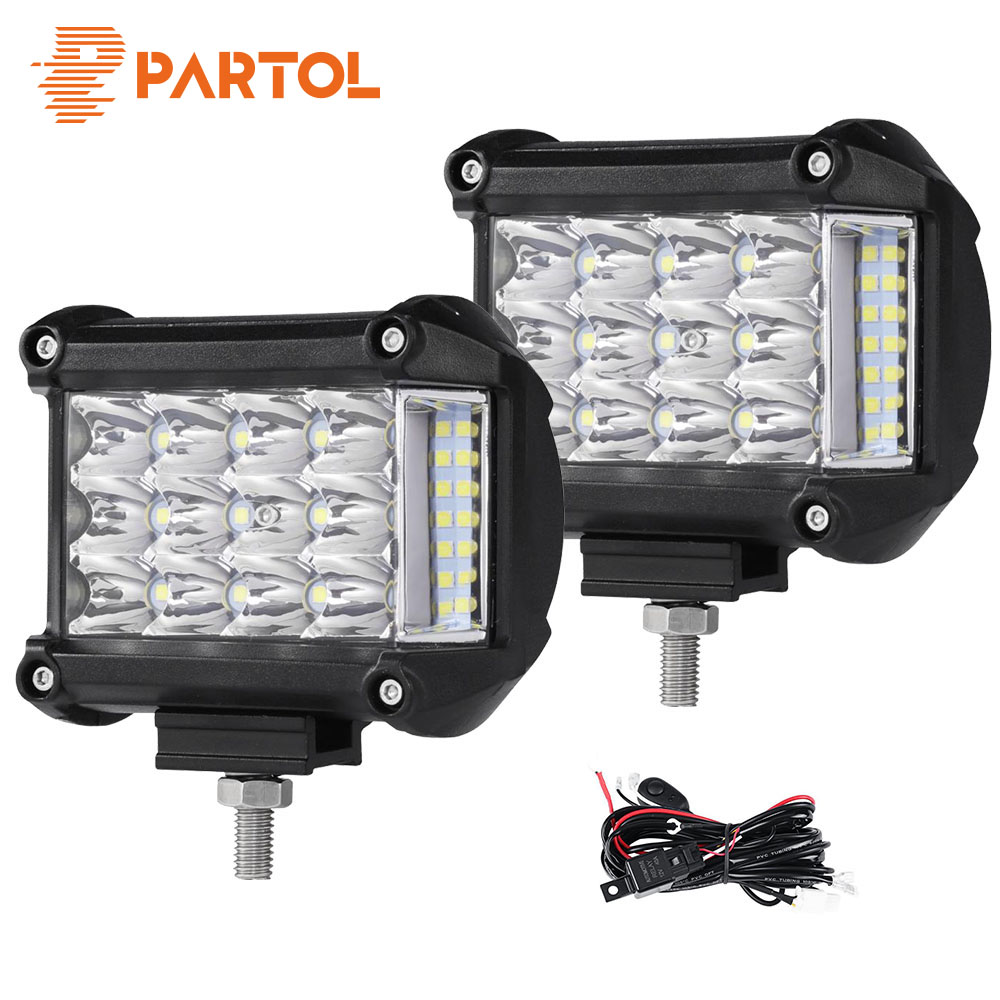 Partol 4 57W Work Light Tri-Row LED Light Bar Spot Flood Combo Beam Offroad 4WD 4x4 LED Bar for Pickup Camper Trailer 12V 24V partol 22 200w dual row curved led light bar offroad work light spot flood combo beam 4x4 4wd led bar 12v for jeep suv truck