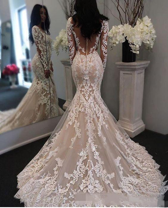 New Illusion Long Sleeves Lace Mermaid Wedding Dresses Tulle Applique Court Wedding Bridal Gowns With Buttons Custom Size