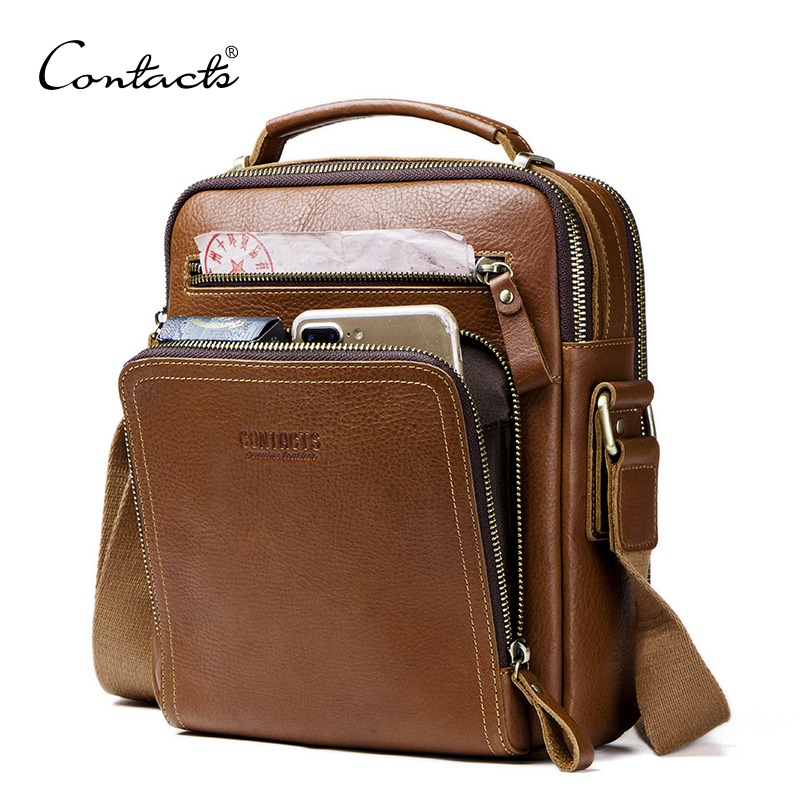 CONTACT'S casual men's messenger bags genuine leather shoulder bags for man luxury brand male crossbody bag fashion for ipad