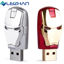 LEIZHAN Promotion Slive/Gold Iron Man USB Flash Drive Pendrive USB 2.0 Minision Flash Disk 64GB 32GB 16GB 8GB 4GB Memory Sticks