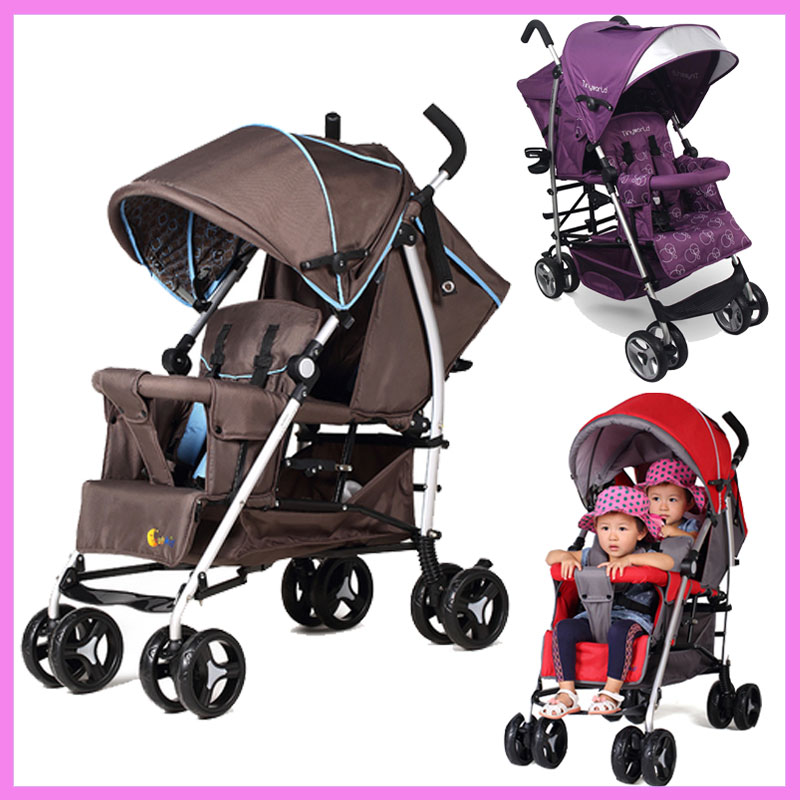 Can Sit Lying Twins Baby Stroller Lightweight Pram Folding Travel System Two Babies Double Stroller Cart Buggy Pushchair 1 M~4 Y mige stroller baby trolley cart folding baby carriage baby cart can be lying on the baby cart portable cart pram with 3 gift