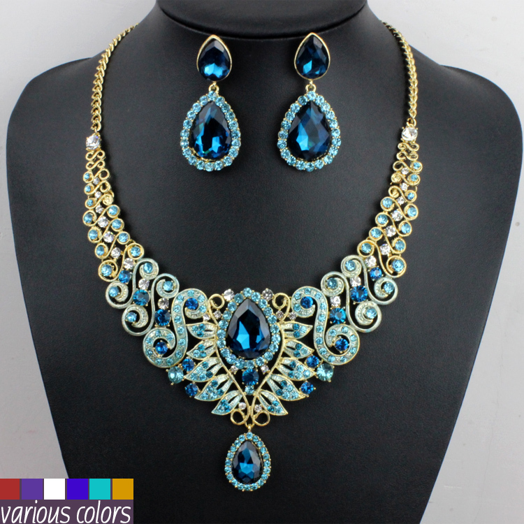 New Arrivals font b Wedding b font font b Jewelry b font Set Blue Crystal and
