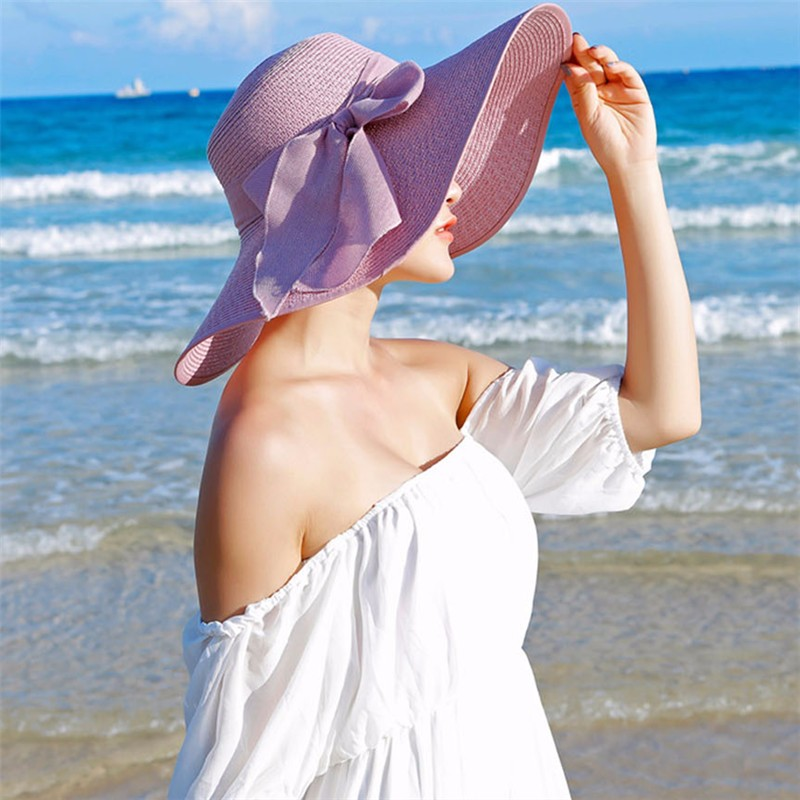 Hot Sale Summer Sun Hats For Women Large Brim With Ribbons Bow Beach Hat Cap Ladies Sun Hat UV Protect Chapeu Feminino 4