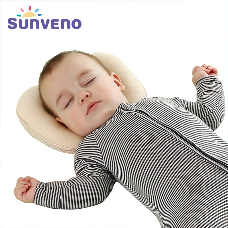 цена на SUNVENO Cotton Baby Pillow Shaping Concave Pillow Breathable Pillow For Newborn Almofada Age Range 6-18 Months High Quality