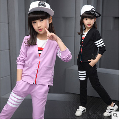 Kids spring 2016 new big virgin girls sports suit baby autumn two-piece casual long-sleeved clothes for girls 3-12 years old 1 spring new kids girls spring dress embroidered two piece suit