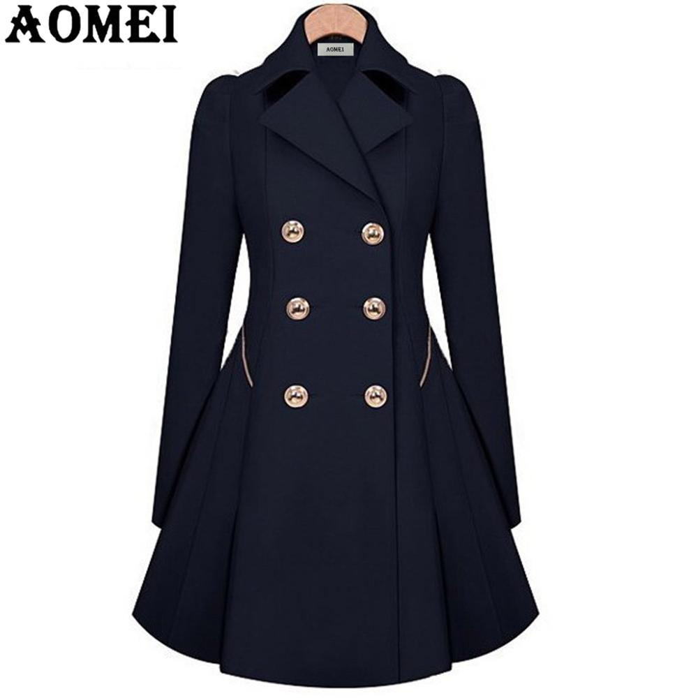 Женское весеннее Элегантное Длинное ветрозащитное пальто с двойной пуговицей, темно-синие однотонные топы с длинными рукавами, офисный женский зимний Тренч, верхняя одежда - Цвет: Navy Blue