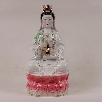 Ceramic, sitting on the lotus a Buddism godness Guanyin Bodhisattva, Buddha Statue, figurine, ornaments~
