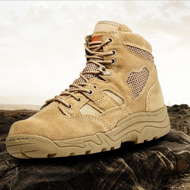 Military Tactical Combat Outdoor Sport Army Men Boots Desert Botas Trekking Autumn Shoes Travel Genuine Leather High Boots Male