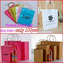 Individuell bedruckte geschenk kraft papier taschen/einkaufstasche/verpackung tasche 100 pcs/lot