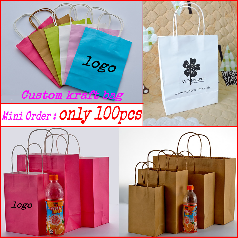 custom printed gift kraft paper bags/shopping bag/packaging bag 100pcs/lot-in Stockings & Gift Holders from Home & Garden