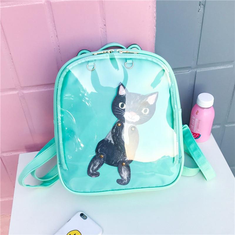 Cute PU Leather Backpack Candy Color Transparent Shoulder Bags Travel Backpacks for Teenage Girls School Bag Mochila Feminina