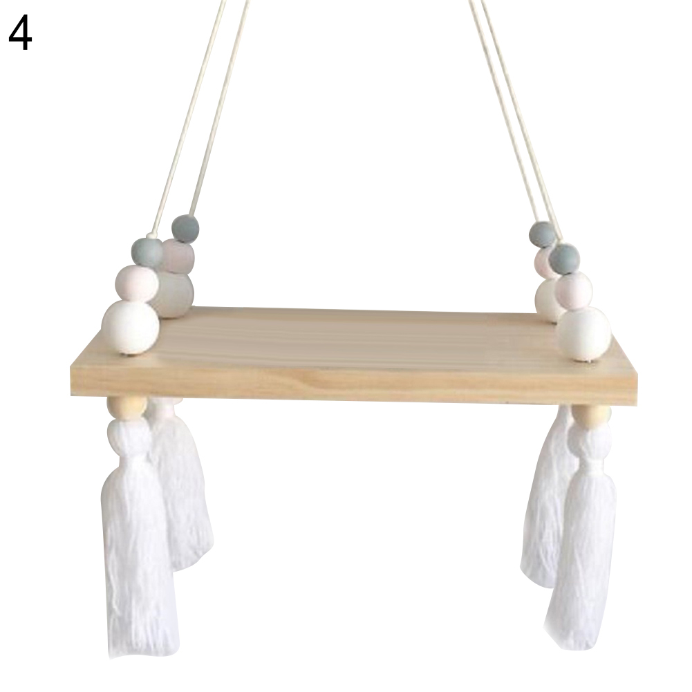 Kids Baby Room Nordic Style Wooden Tassel Beads Room Wall Hanging Decor Gift