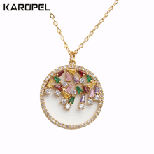 Fashion Colorful Cubic Zircon Round Cut Necklace Jewelry Women Wedding Luxury CZ Crystal pendant Party Gifts