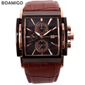 BOAMIGO male men's watches large dial fashion casual sports quartz watches rose gold sub dials clock brown leather wrist watches