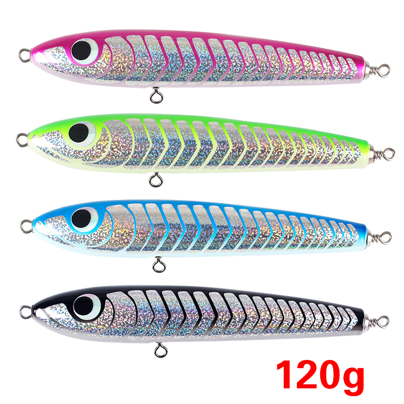8.66/120g JE Topwater Wooden Stickbait GT Surface Trolling Lure Deep Sea Pencil Boat Fishing Artificial Bait Open Ocean Timber 85g wooden popper cantboard lure sea fishing wooden trolling boat artificial bait top water wood bird trolling fishing lure
