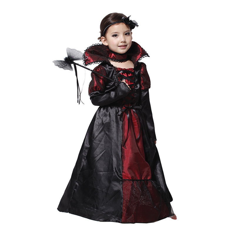 Girls Halloween Dress Black Queen Vampire Costume Kids Carnival Masquerade Party Fancy Vestido Children Cosplay Clothes