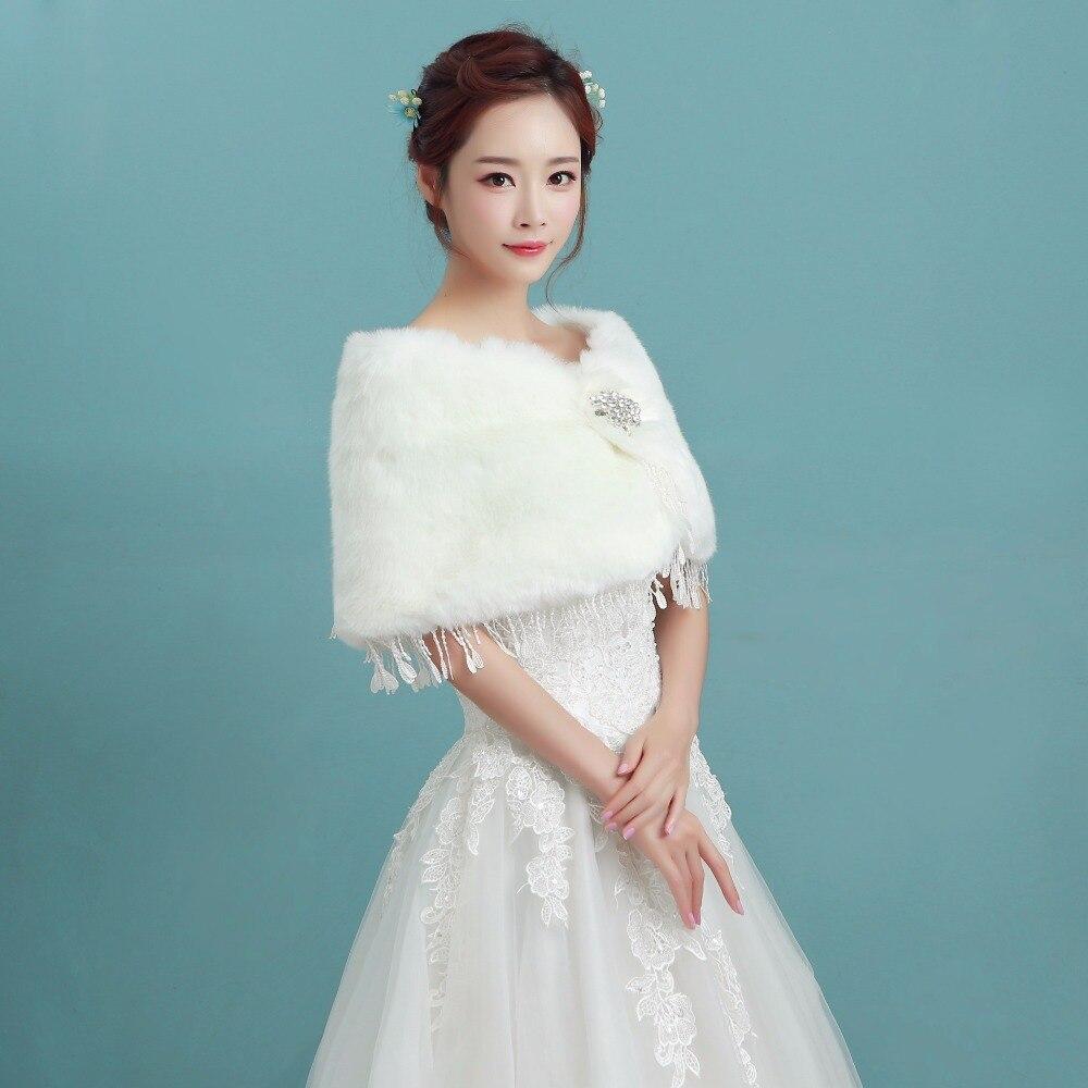 2018 Luxury Winter Bridal Jacket for Wedding Faux Fur Warm Bridal ...