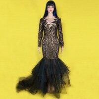Блестящие стразы кружева Платье черного цвета с длинным рукавом блестят камнями большой хвост платье День рождения, празднование вечерние