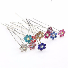 10pcs/lot Flower Hair Pins Wedding Bridal Rhinestone Crystal Hair Pins for Women Lady Girls 10colors Hair Accessories