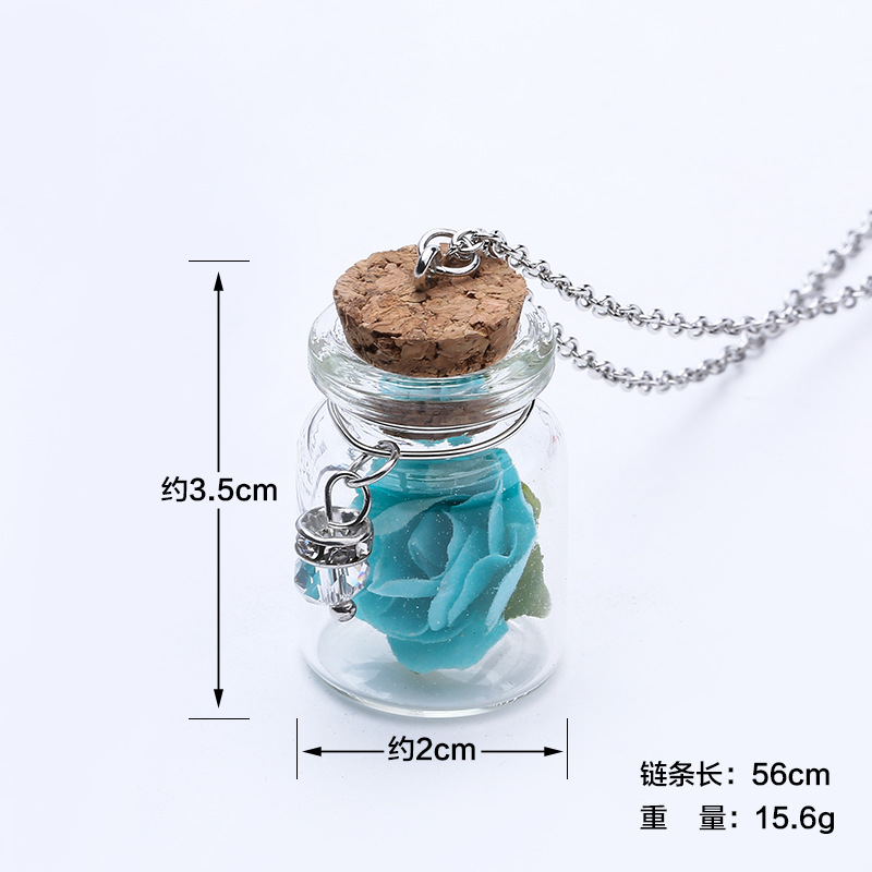 Mini Drifting Bottle Pendant Necklace for Women Luminous In Dark Rose Flower Party Summer Beach Jewelry Gifts Chain