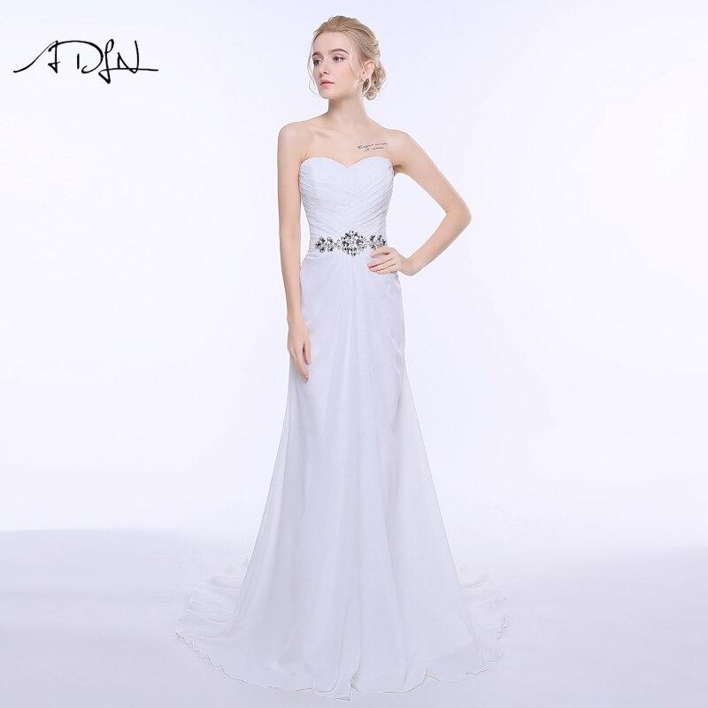 ADLN 2017 Stock Wedding Dresses Chiffon Beach Bohemian Summer Bridal Gown vestidos de novia White/ Ivory / Red