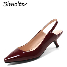 цены Bimolter Shoes Women Pointed Toe High Heels Red Stiletto Women's Strap Black Pumps Patent Leather Plus Size 44 Slingback FB016