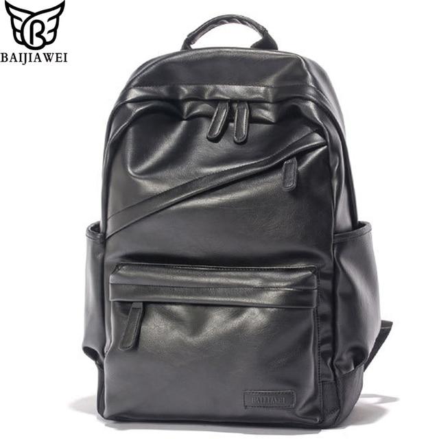 BAIJIAWEI Men Patent Leather Backpack Men s Travel Bags   Men s Leather  Backpack Western College Style Backpacks School Bags 3d4f9f26de2de