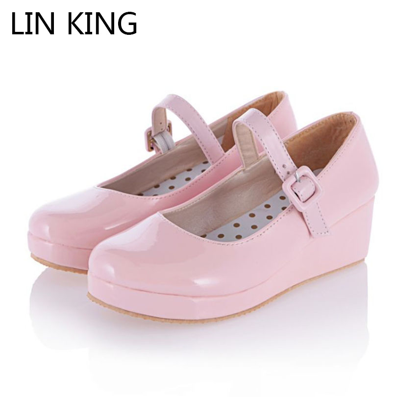 LIN KING Spring Sweet Cosplay Lolita Single Shoes Pumps Women Fashion Party Dress Shoes Platform Round Toe Wedge Plus Size 34-43 браслеты