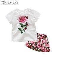 Kimocat Girls Clothing Sets New Summer Fashion Style Flower Printed T-Shirts+TUTU Dress 2Pcs Girls Clothes Sets