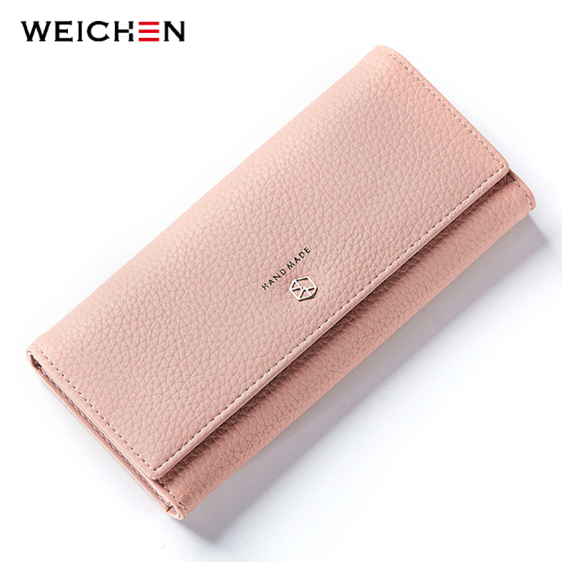 WEICHEN New Style Long Wallets Women Hasp Solid Wallet with Coin Phone Pocket Brand Designer Female Purse Credit Card Holder Bag wholesale price fashion new bright pattern women wallets long zipper pocket hasp quality credit card holder wallet free shipping